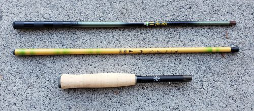 Top: Shimotsuke Kiyotaki 180. Middle: Generic Yellow Bamboo Rod. Bottom: Tiny Ten