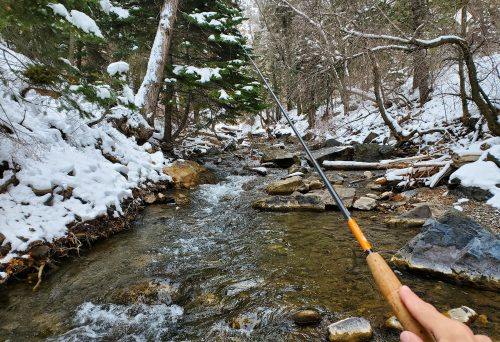 "Fishing a creek in Utah back in late January. I have indeed ""paid off"" the Mizuchi."